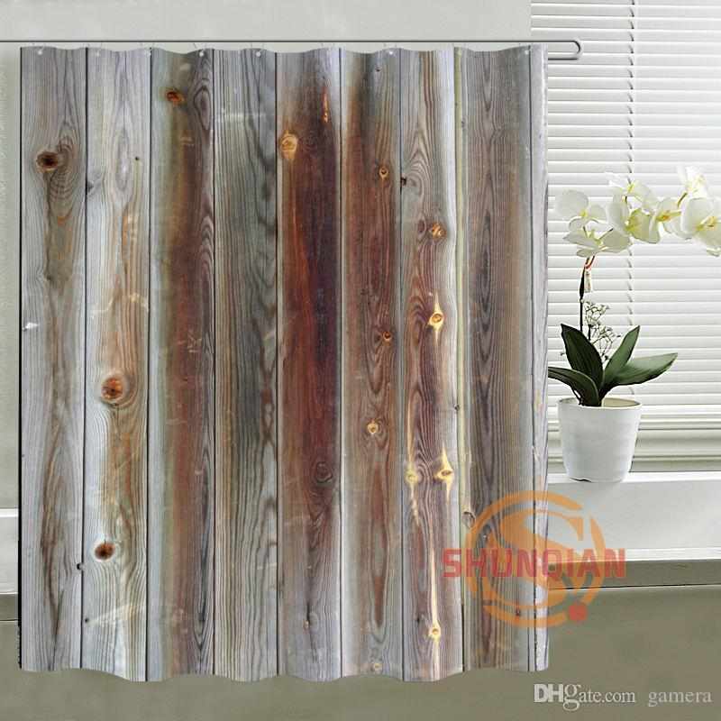 Best Wholesale Classical Custom Shower Curtain Old Wood Bath Mondern Waterproof Polyester Fabric For Bathroom Under 5049