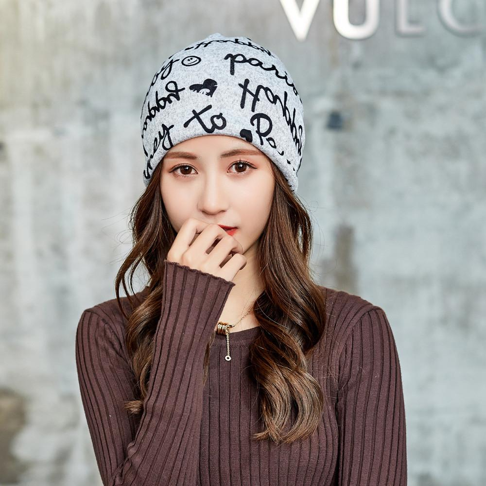 2019 Hip Hop Letter Printed Beanie Ponytail Beanie Winter Hats For Women  Winter Cap Fashion Female Beanie Scarf Accessories From Moonk f272581ddf8