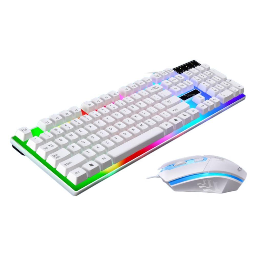 f0a01dfee5e Großhandel Spiel Luminous Wired Usb Maus Und Tastatur Anzug Mit Regenbogen  Hintergrundbeleuchtung Led Leuchten Ergonomische Mechanische Tastatur Gaming  ...