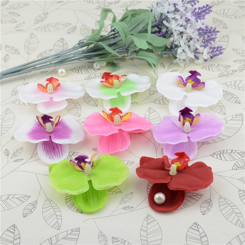 100pcs Silk Butterfly Orchid Artificial Flower Head For Wedding Home Decoration Orchs Flores Cymbidium Flowers Plants
