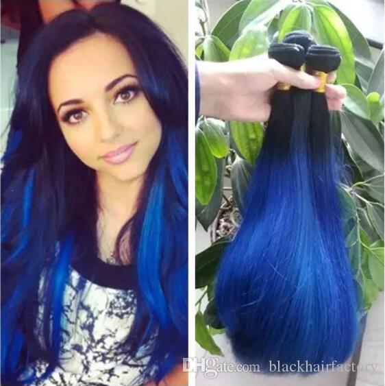 Silky Straight Ombre Hair Bundles Dark Roots 1b Blue Malaysian