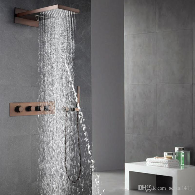 2018 Oil Rubbed Bronze Shower Faucets Set Rainfall Waterfall Shower ...