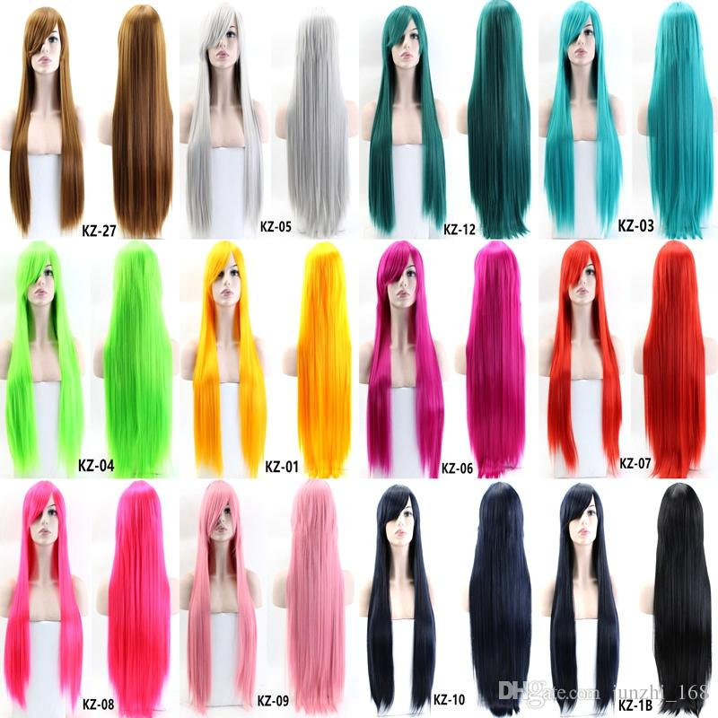 80CM Long Straight Cosplay Wig Synthetic Hair Heat Resistant Black Gray Red Pink Blue Brown Many colors available