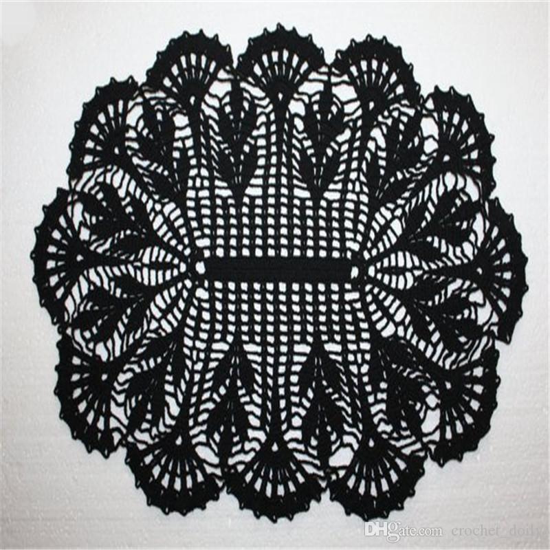 Großhandel Schwarzes Oval Häkeln Deckchen Lace Häkeldeckchen
