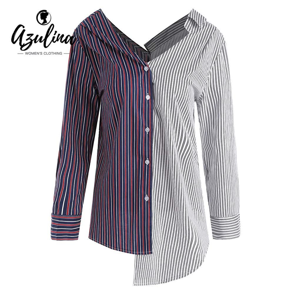01345fecd 2019 AZULINA Plus Size Asymmetrical Contrast Striped Blouse Shirt Women  Blouses 2018 Buttons Color Block Long Sleeve Shirts Tops 5XL From Red2015,  ...
