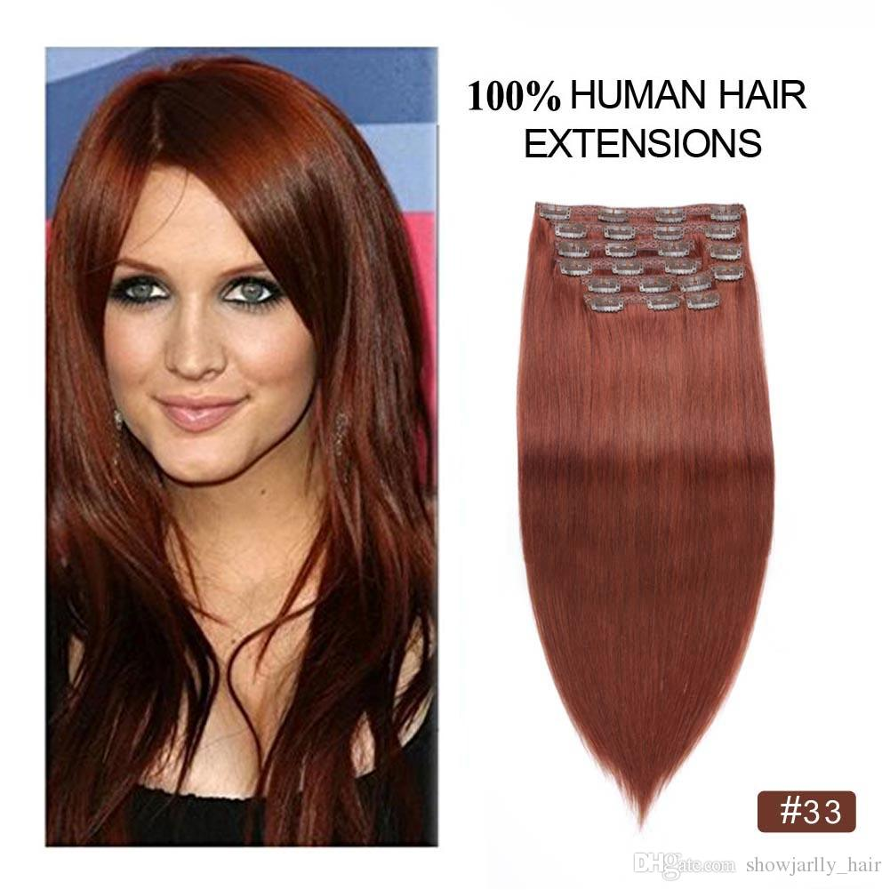 Copper Auburn Clip Hair Extensions Human Hair Clip On Extensions
