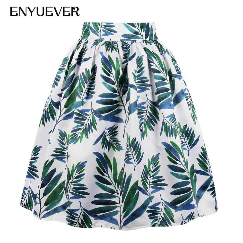 e9f01f15523 2019 Enyuever Plus Size Casual Skirts Womens Floral Green Leaf Print Summer  Pleated Retro 50s Vintage Skater Party Midi Skirt Pockets From Blueberry15