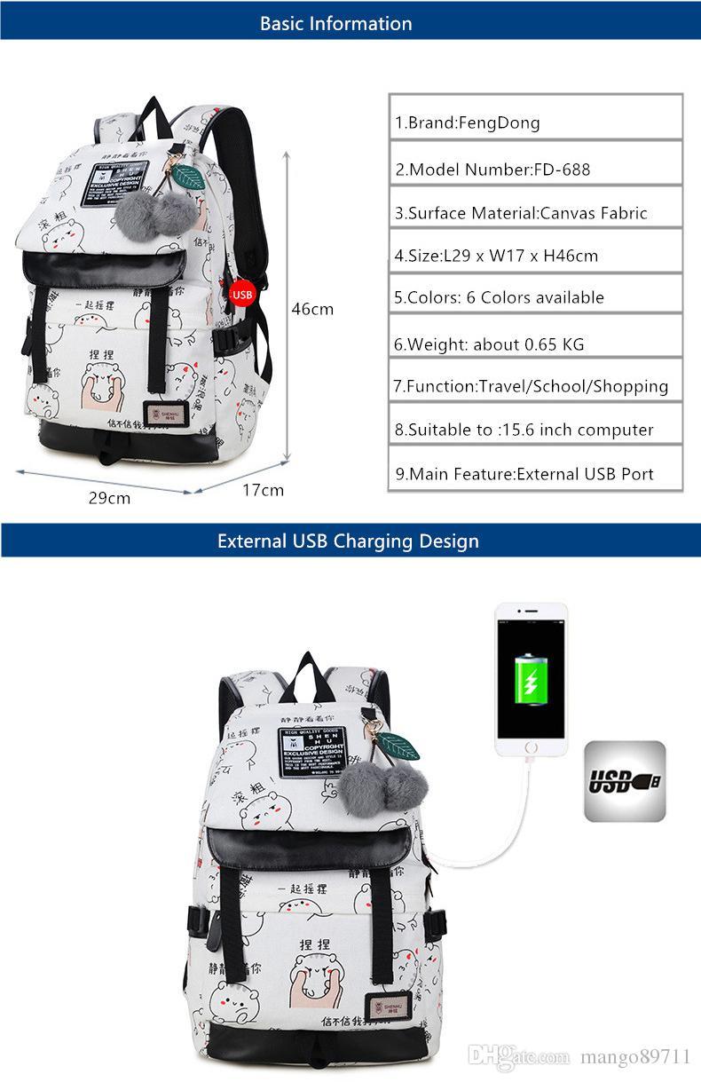Moda feminina letras de impressão mochila usb saco para laptop mulheres sacos de viagem de lona branca mochila escolar para meninas