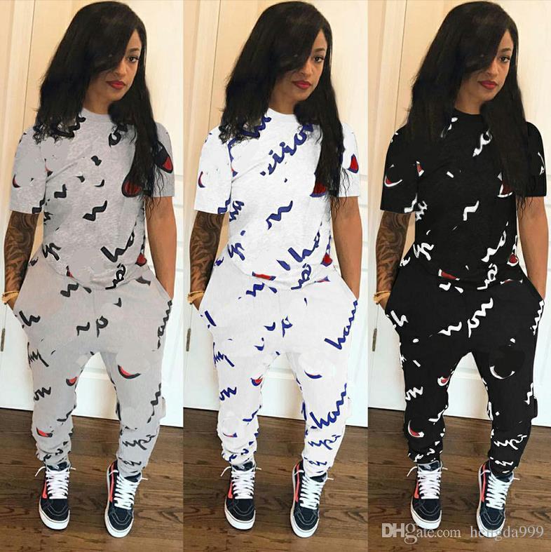 b1c75efa5 Mulheres camiseta de manga curta e calças treino 2 peça terno esportes plus  size mulheres meninas calças justas set roupas corredores roupas casuais