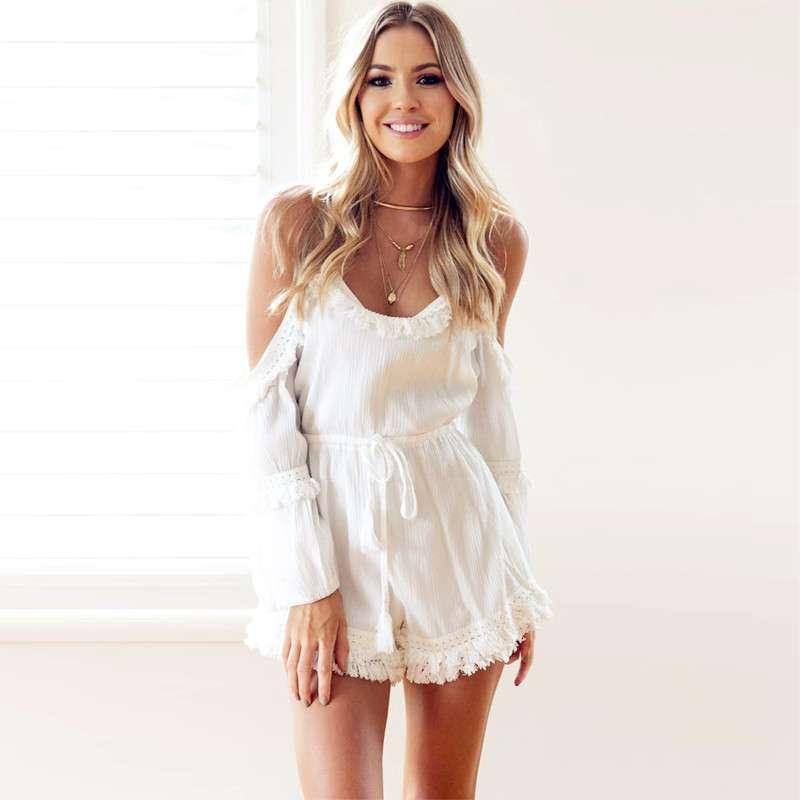 ca66fd67c889 2019 Casual Camis Playsuit Cut Out Sexy Bodysuit Women Shorts Boho Jumpsuit  Vestido Summer Style Beach Resort Tassels White Rompers From Erotogenic01