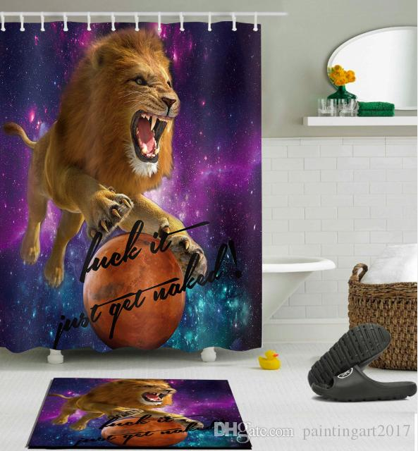 2018 Lion Pattern Shower Curtain Floor Mat Customized Waterproof Bathroom Fabric With 12 Hooks For From