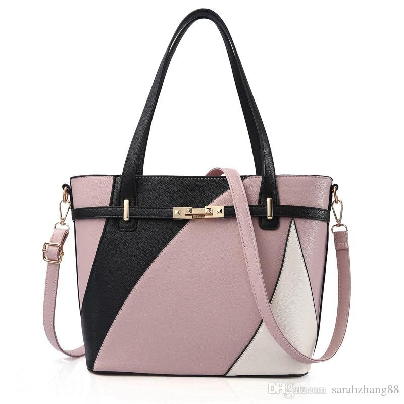 0bd2e18393 Women S PU Leather Patchwork Messenger Tote Bag Fashion Handbag Purse  Shoulder Bag Summer Casual Work Bag For Women Girls Toting Leather Backpack  Purse From ...