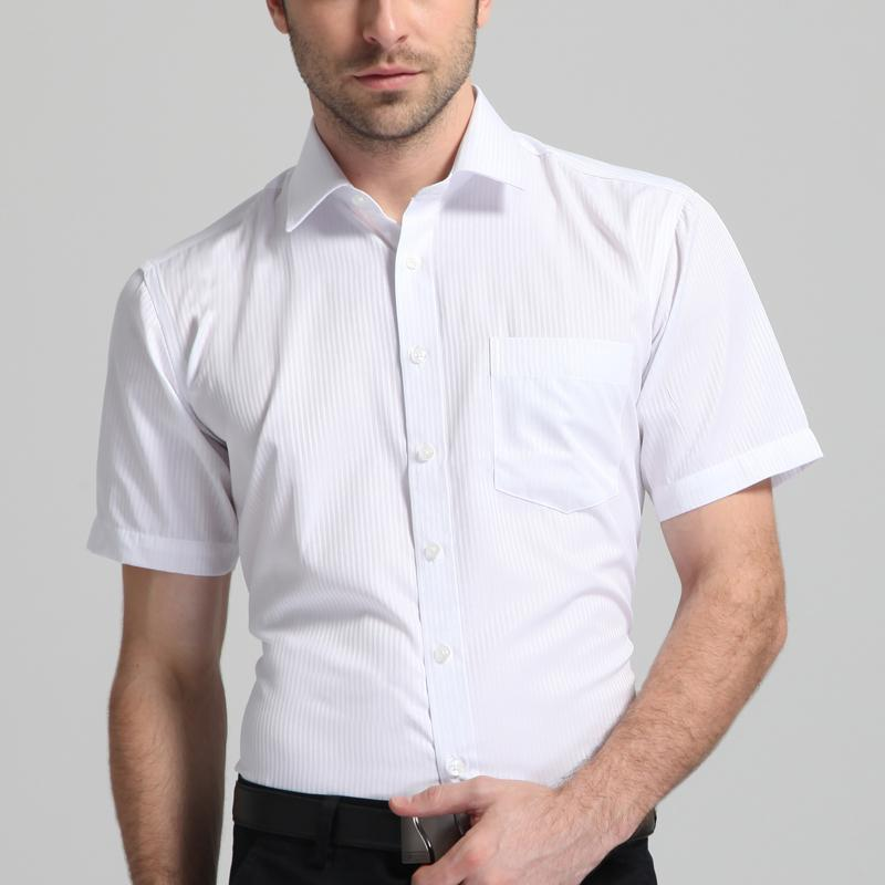 Men's Regular-fit Short Sleeve Basic Dress Shirts with Left Chest Pocket Formal Business Work Office Solid/Twill/Striped Shirt