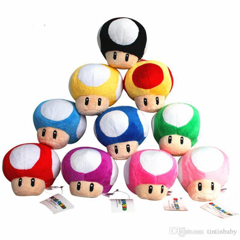 Super Mario Bros Mushroom With Key Cartoon Chain Plush Doll Stuffed Toys Collectible 7cm 10 Colors