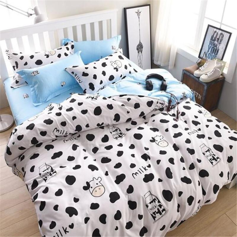 Ordinaire Dairy Cow Pattern Bed Pillowcases Duvet Cover Set Quilt Cover Set Twin  Queen King Size Blue And White Complete Bedding Sets Duvet Sets King From  Hibooth, ...