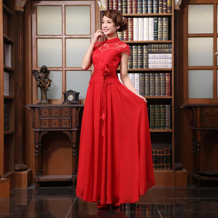 2018 new red married formal evening wear long dress adult women chinese style slim short design Evening Dresses