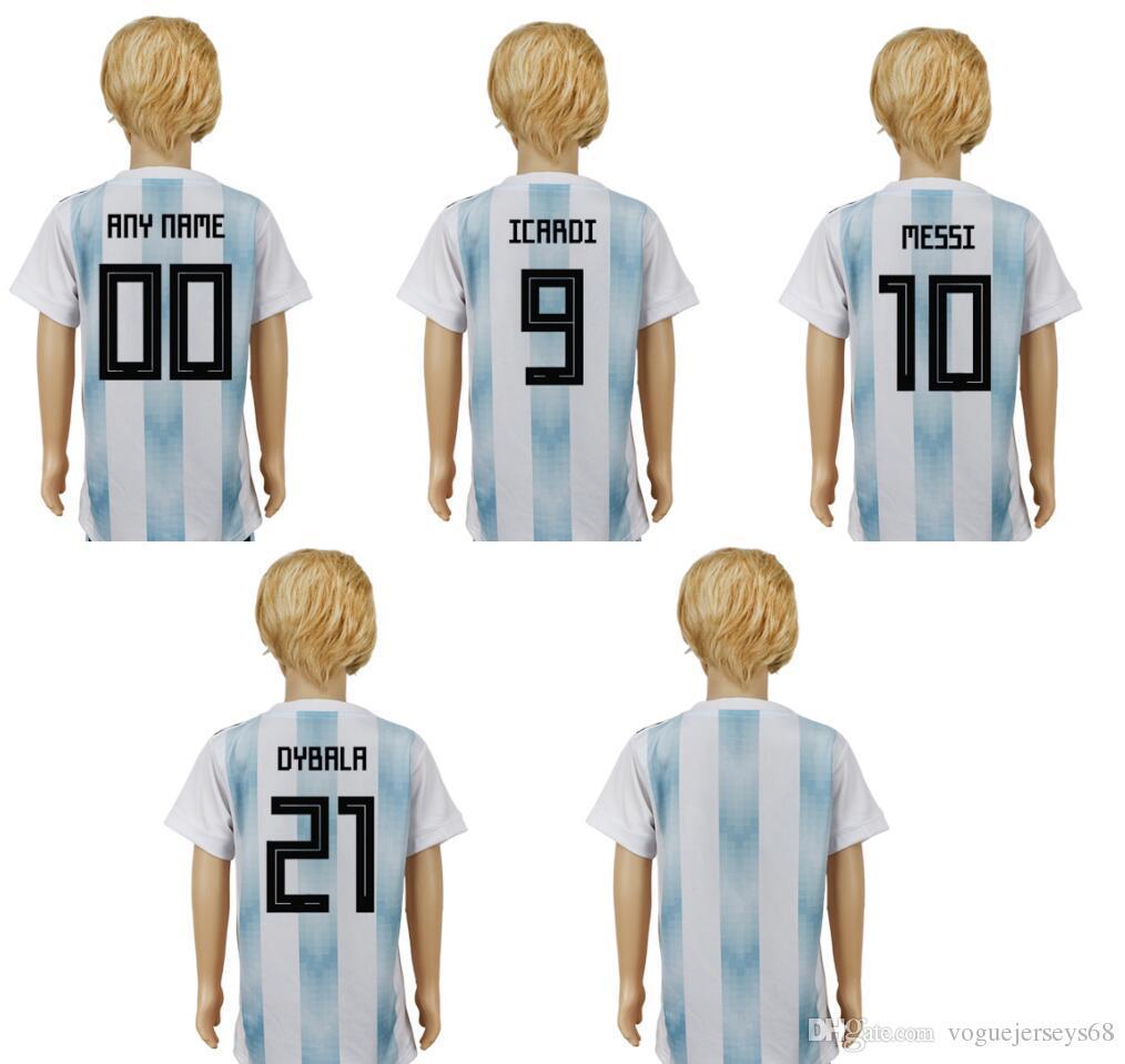 2da8cb100 2018 Argentina Niños   9 Icardi 10 Lionel Messi 21 Paulo Dybala Uniformes  Personalizados Camisetas Personalizadas Deportes Fútbol Pro Jerseys Envío  Gratuito ...