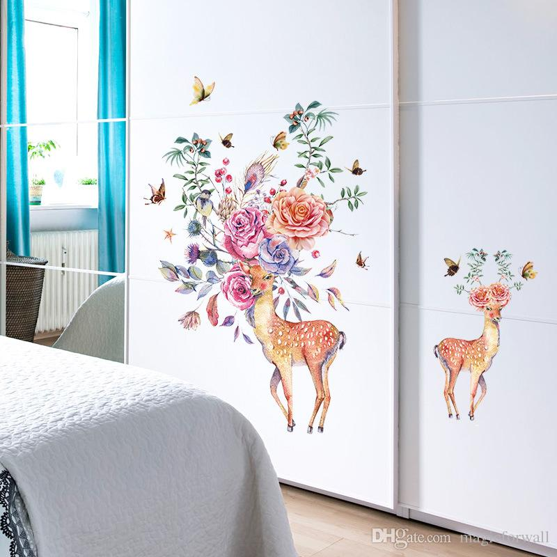 Flowers Birds Butterfly Deer Heads Wall Stickers Kids Room Nursery Wall Decor Decals Posters Living Room Wall Graphic Selfadhesive Wallpaper
