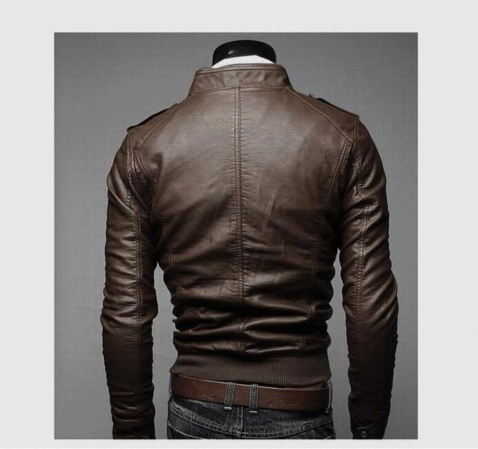 New Mens PU Leather Jacket Short Slim Leisure Wash Male Outwear Coat High Quality Casual Motorcycle Jacket