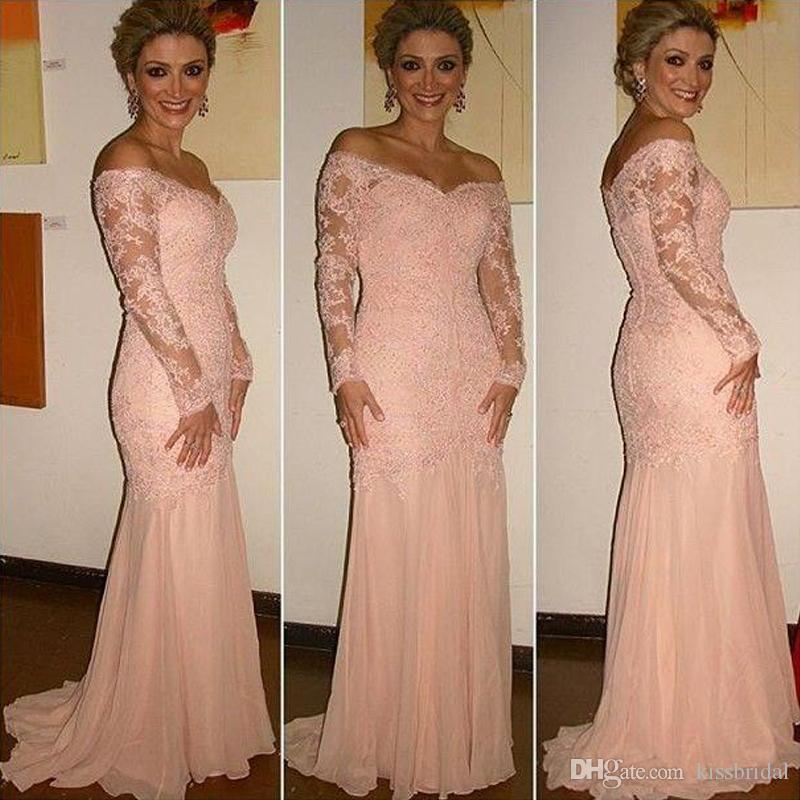 Long Sleeves Mother Of The Bride Dresses Coral Off The
