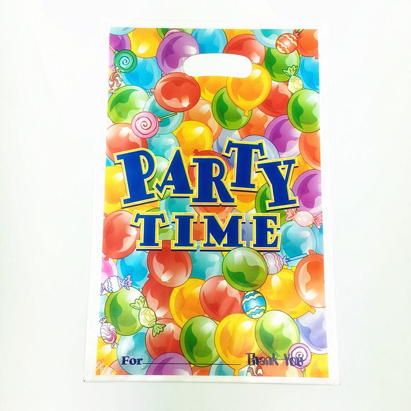 Wholesale 6pcs Birthday Party Theme PE Printed Plastic Candy Bagsshopping Gift Bag For Kids Happy Event Supplies