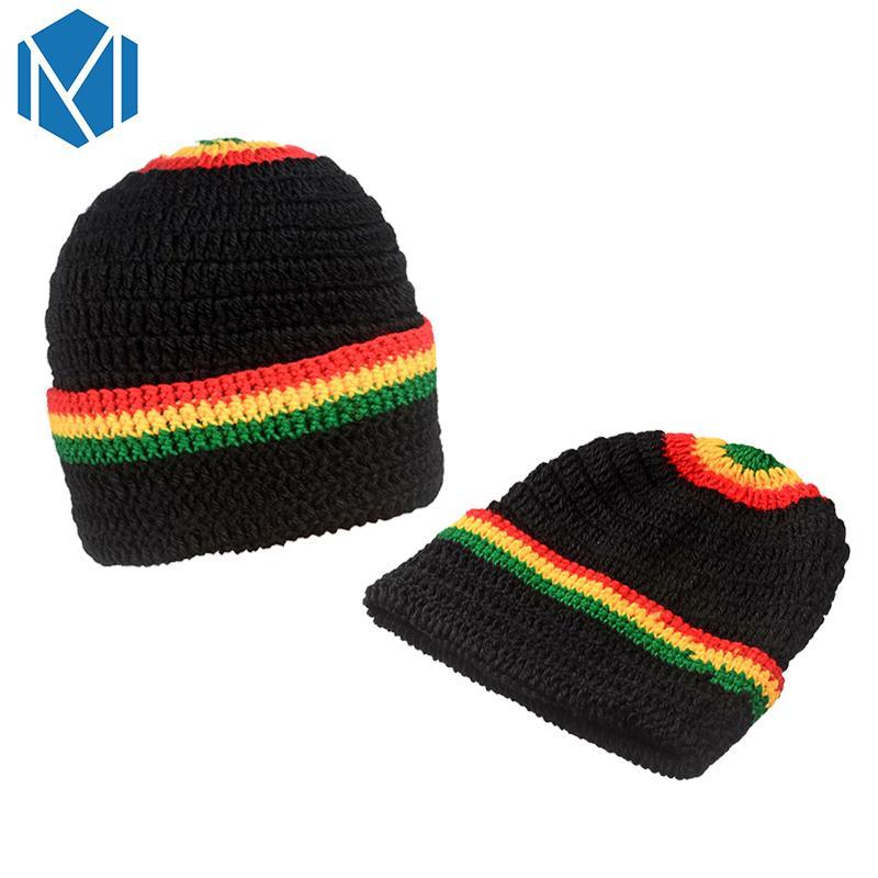 Compre C Unisex Rasta Rainbow Striped Jamaica Sombrero Gorro De ...