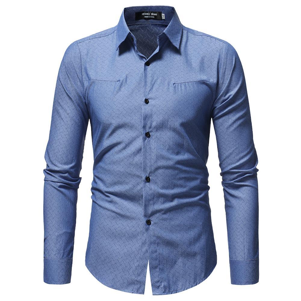 watch baf37 a0e12 New Long Sleeve Herrenhemd sozialen Revers m-3xl große Männer Hemd und  lässig hohe Qualität