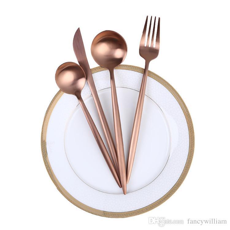 Western Dinnerware Tableware Party Supply Cutlery Matte Rose Gold Stainless Steel 304 Knife Fork Spoon Wedding Flatware