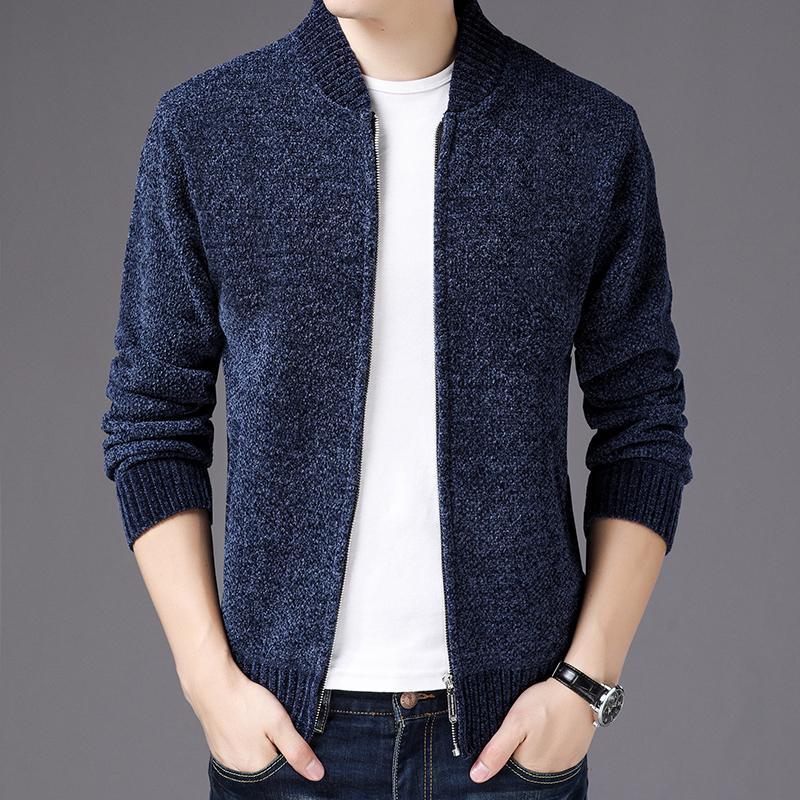 669830661 Pure Color Knit Plus Velvet Jacket Mens Winter Thick Coat Men Mens ...