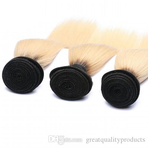 10a Brazilian Straight Weave 1B/613 Ombre Blonde Hair Bundles 2 Tone 613 Straight Hair Brazilian Virgin Human Hair Weave