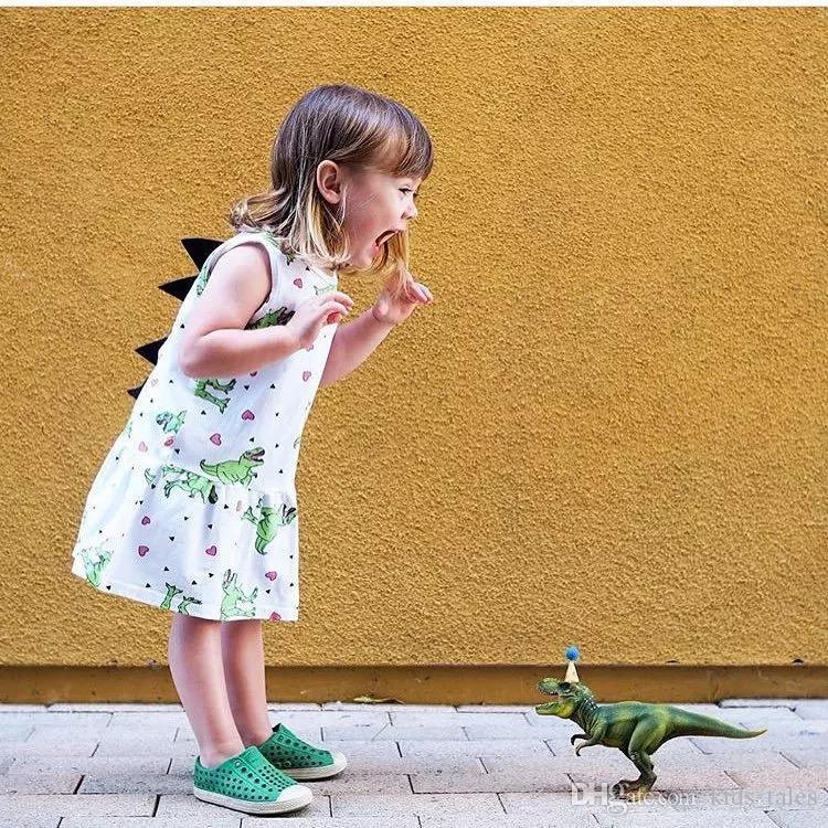 b7f73279bae3 2019 Summer Toddler Kids Girls Dress 3D Dinosaur Clothes Sleeveless Tutu  Mini Dresses Cotton Cartoon Outfits Sundress 1 5Y From Kids tales