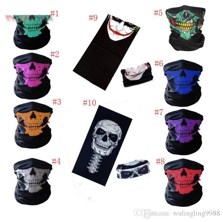Skull Face Mask Halloween Skull Bandana Bike Casco Neck Face Mask Bufandas Guantes Wraps Paintball Deporte Ciclismo Cinta para el cabello Bufanda