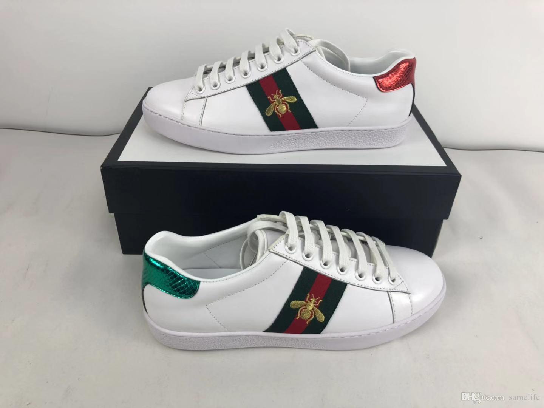 save off c0b27 c7016 Designer Schuhe ACE Luxury bestickt weiße Tiger Bee Snake Schuhe aus echtem  Leder Designer Sneaker Herren Damen Freizeitschuhe