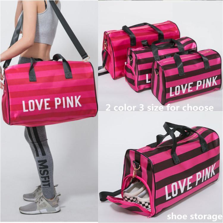 98d33551c6 Love Pink Duffel Bags With Shoe Storage Bag Pink Women Travel Bag ...