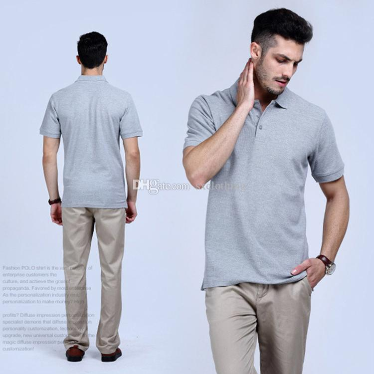 b47c0e9d175 2019 2018 New Cheap Price Gray Plain Color Short Sleeve 100% Cotton Man  Polo T Shirt From Sxclothing