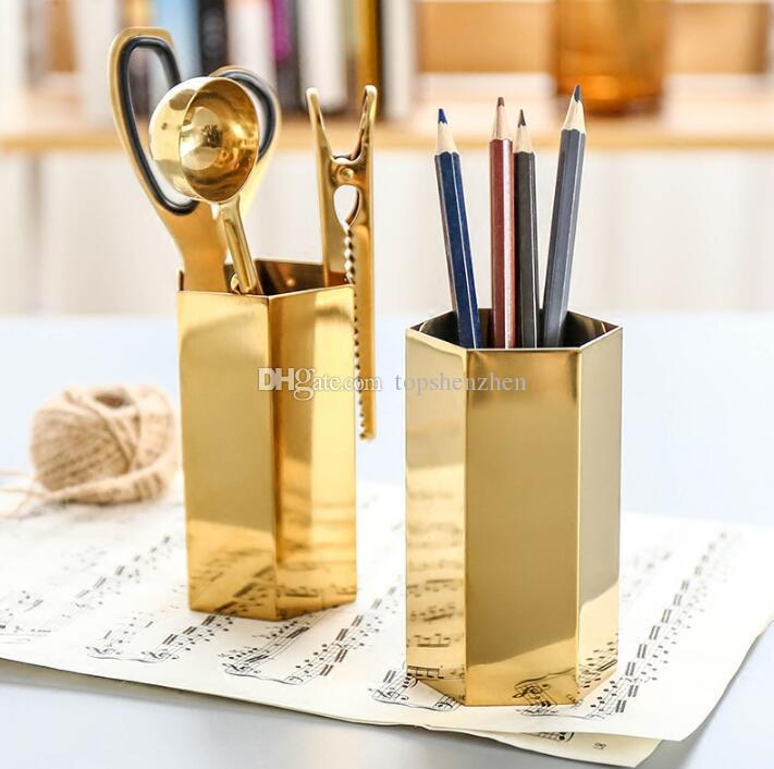 كأس رصاص معدني الشمال نمط مسدس النحاس الذهب الفولاذ المقاوم للصدأ إناء معدني الذهب حامل القلم تخزين أنبوب تخزين الحاويات مكتب زخرفة