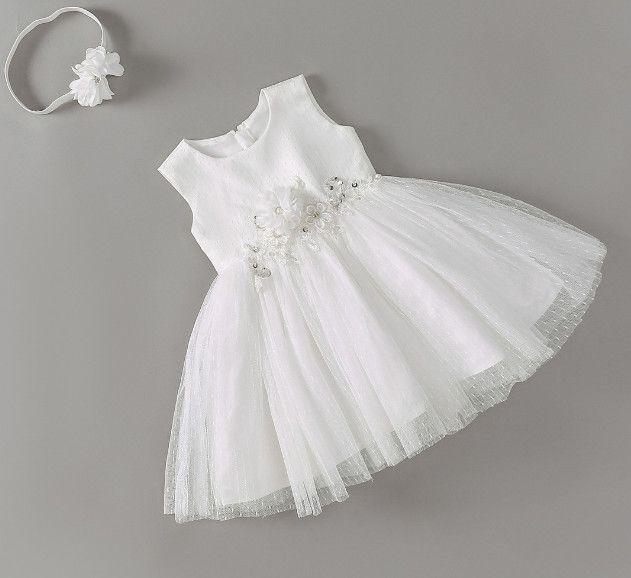 620042832bca Newborn Baby Baptism Summer Dress with Headband Christening Dress ...