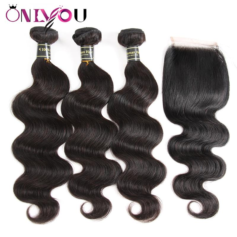 Brazilian Peruvian Body Wave Virgin Hair Bundles with Lace Closure Lace Frontal Bundles Human Hair Weave with Closure Middle & Free Part