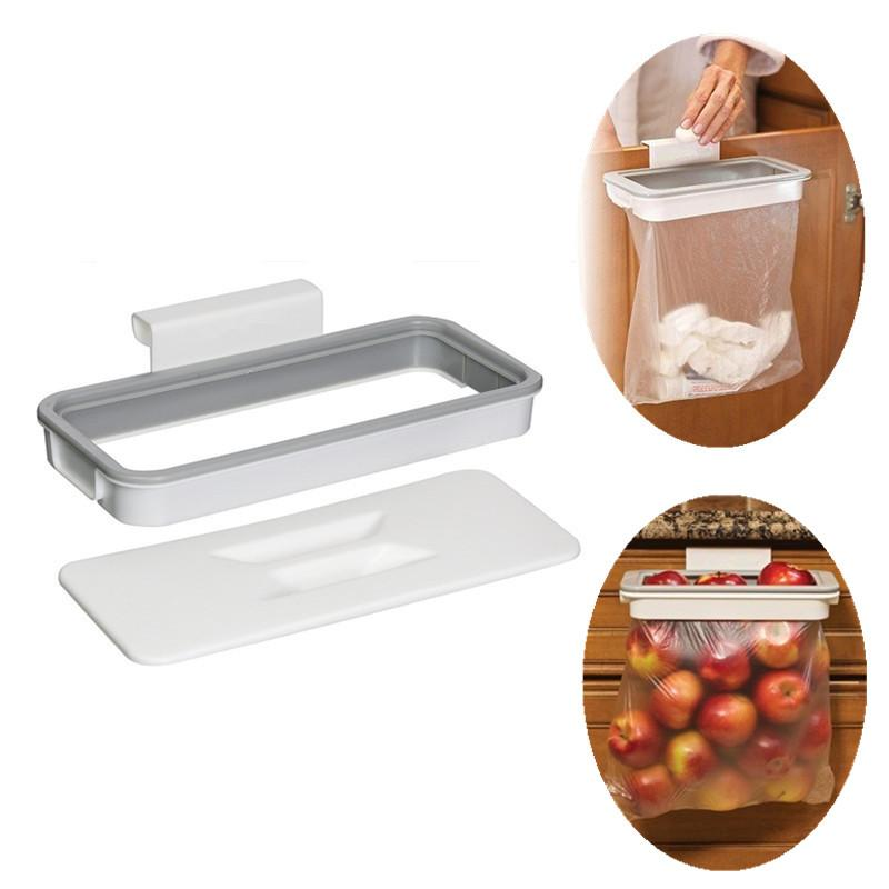 Attach A Trash Cupboard Door Back Trash Rack Storage Garbage Bag Holder Hanging Kitchen Cabinet Hanging Trash Rack kitchen Tools CF18