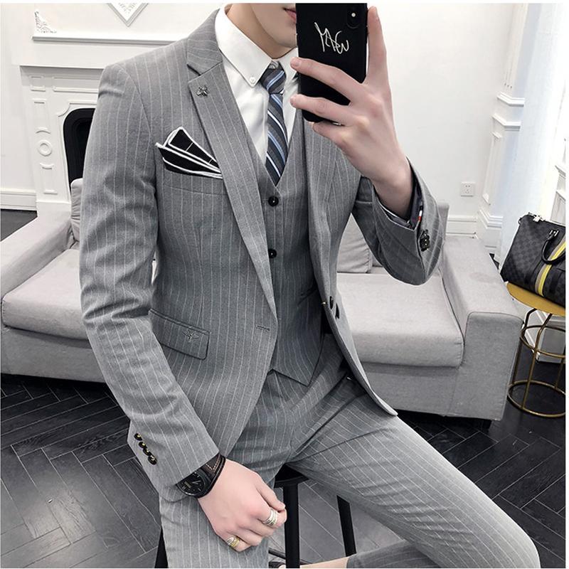 736335e84d33d Satın Al Şerit Rahat Ince Kesit Takım Elbise Erkek Genç Kore İnce Üç Parçalı  Damat Gelinlik, $143.77 | DHgate.Com'da