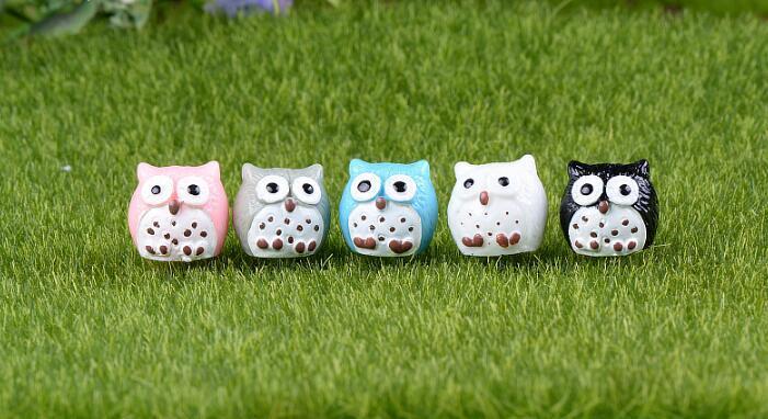 Minyatür Peri Bahçe Baykuş Süs Dollhouse Bitki Pot DIY Dekorasyonu Ev bonsai Mini baykuşlar Moss mikro manzara Küçük hediye reçine el sanatları