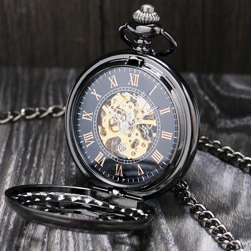 Lucury Steampunk Mechanical Pocket Watch Silver/Black Hollow Flower Steel Hand Wind Men Women Pendant Fob Chain Birthday Gifts