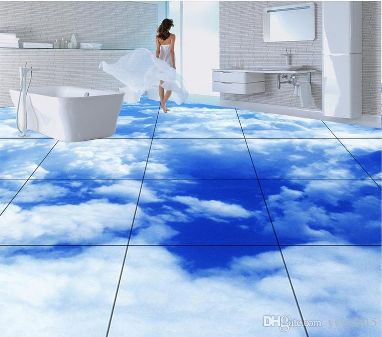 Etiqueta engomada del piso 3d Etiqueta engomada realista del piso 3D de las nubes blancas del azul Ejemplo ultra HD Papel pintado autoadhesivo impermeable del PVC