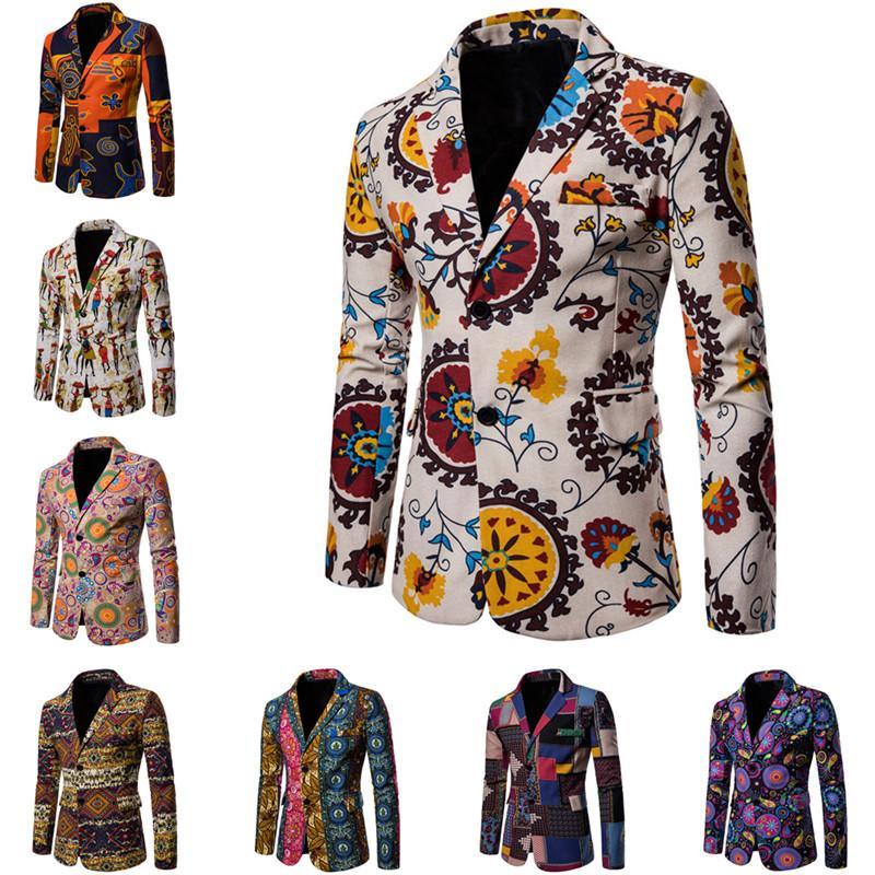 Compre 2018 Men  s Casual Blazer Ropa Nueva Moda Masculina Chaqueta De La  Impresión Streetwear Juventud Slim Fit Hombres Trajes Abrigos Ropa Más El  Tamaño ... 7b9bc6f673c