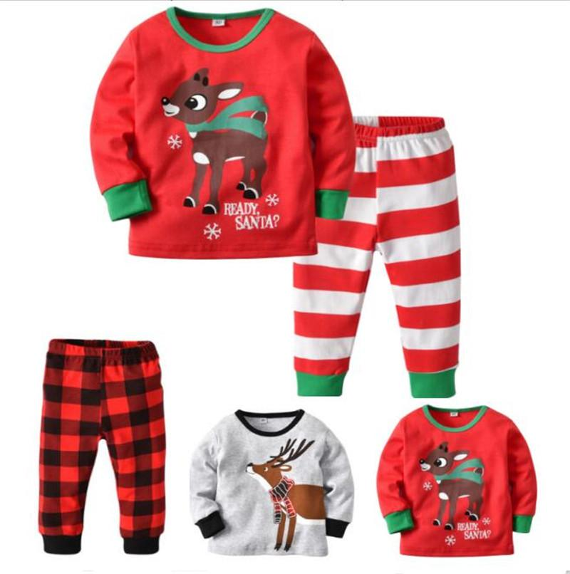 ea4f5e5d3984 Xmas Christmas Kids Pajamas Set Elk Deer Pajama Striped Plaid ...
