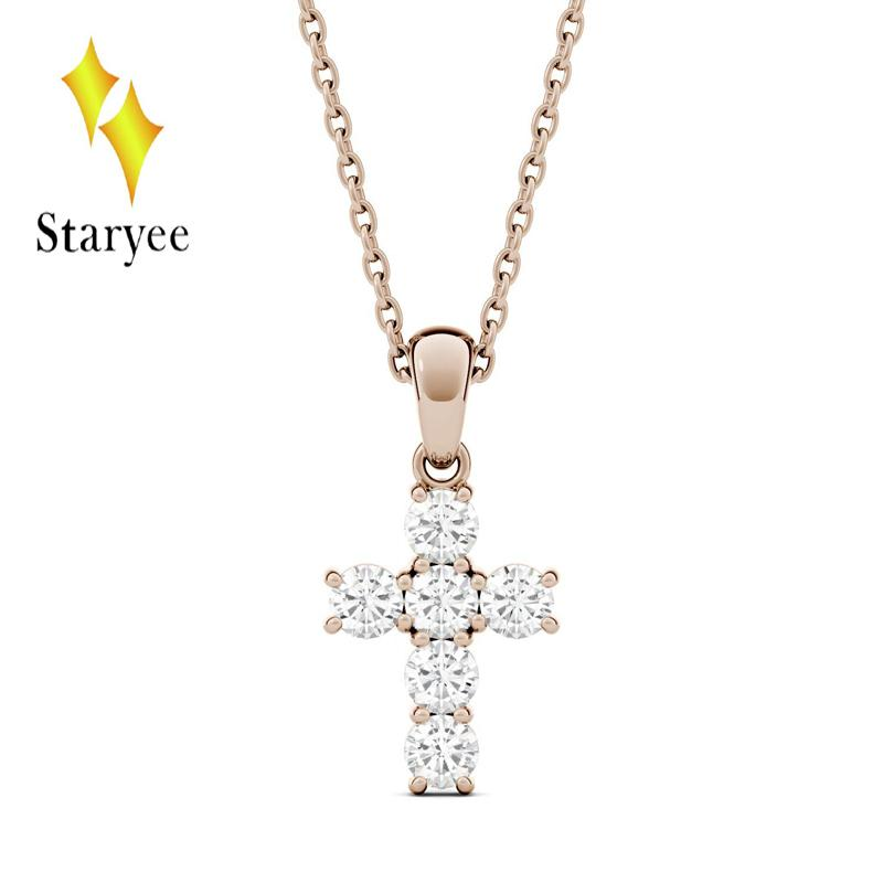 a69c52d2852f 2019 Test Positive Real 18K Rose Gold Round Brilliant Lab Grown Moissanite  Diamond Cross Pendant Necklaces For Men Women From Wutiamou