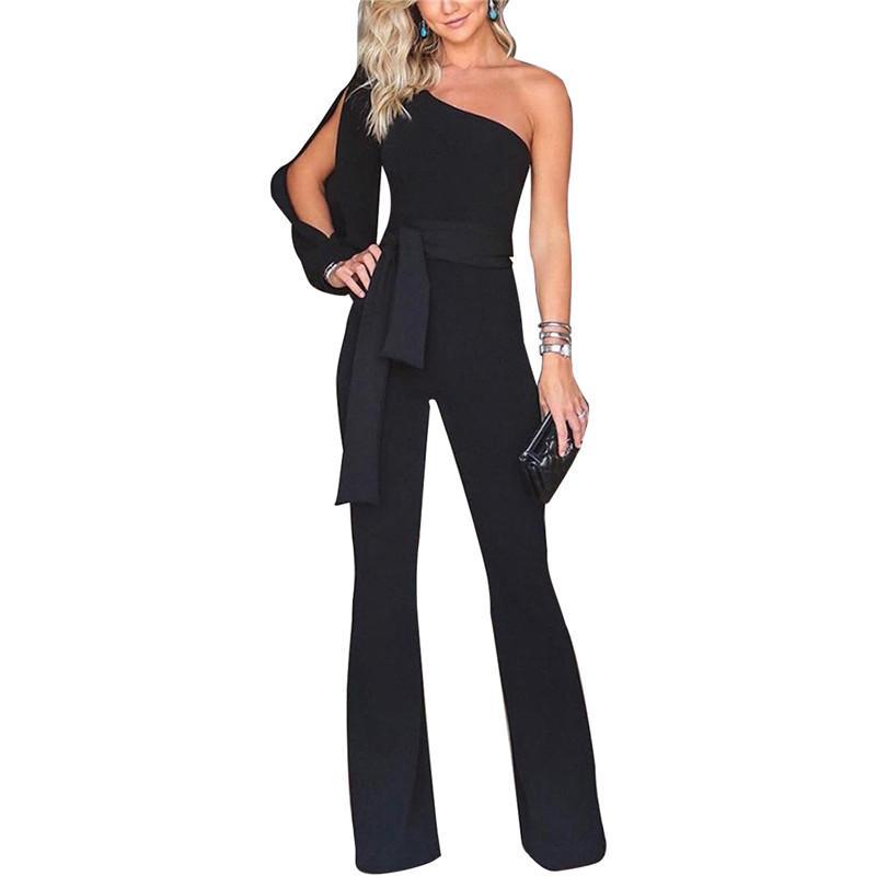 dc4dbcd1de19 2019 Party Sexy Rompers Womens Jumpsuit Long Sleeve Split One Shoulder  Overalls Elegant Evening Wear Black Formal Jumpsuits Sashes From Stripe