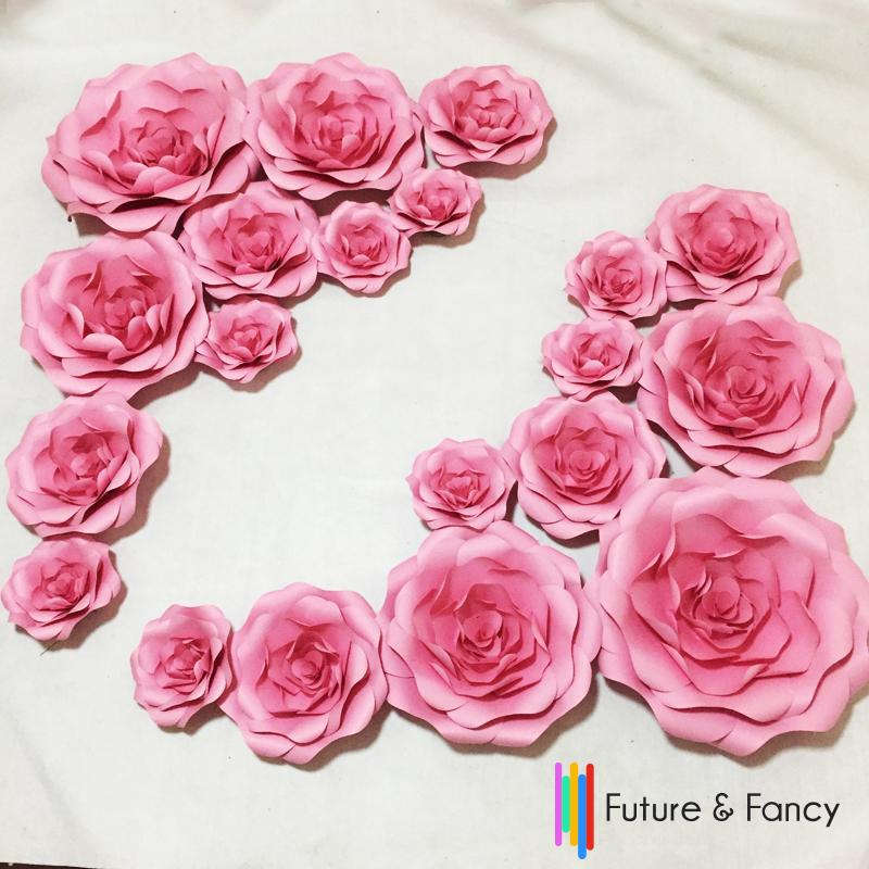 20pcs Set Combination Cardboard Giant Paper Flowers Wall Wedding Wall Arc Paper Flower Backdrop Wedding Background Deco
