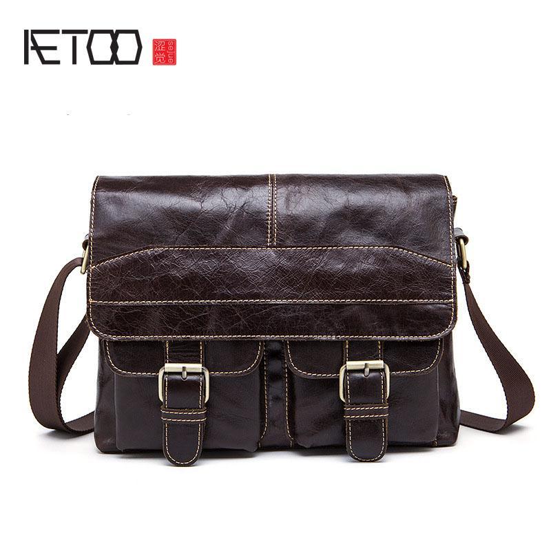 AETOO New Wax Leather Series Messenger Bag For Men Bag Genuine ... 8bb601e62b