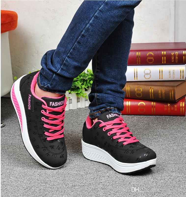 Fashion Women Height Increasing Summer Breathable Waterproof Wedges Sneakers  Platform Shoes Woman Pu Leather Casual Designer Leather Shoe Platform Pump  ... 78dc4400d008